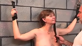 Coarse scenes of home slavery with naked babe with shaved pussy