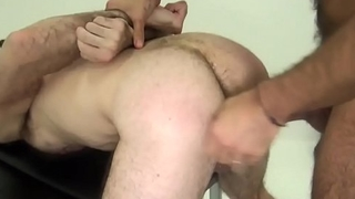 Hairy bear fingered and barebacked doggystyle