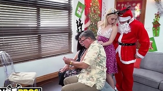 BANGBROS - Petite Young Blonde Anastasia Knight Fucked By Dirty Santa Claus!