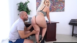 Big Butt Boss Nina Kayy Bangs Big Black Blarney Employee!
