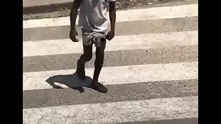 Black Guy with Massive cock walks in public