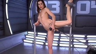 Flexible hairy slut fucking machine