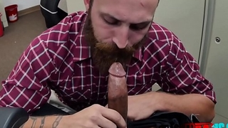 All american gay guy takes directors big black cock deep and hard