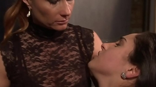 Lezdom mistress punishing her timid sub