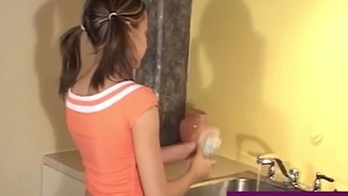 Hot Young Airless Teen Andi Pink Gets Nude In The Kitchen Sink!