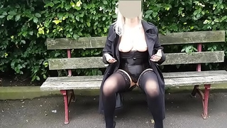 Flashing My Mature Tits &amp_ Bald Pussy At The Park