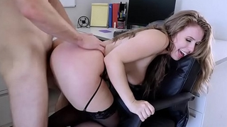 Lena Paul goes down to her knees and blowjob Mike Mancinis thick man meat!