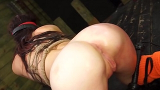 Nubile dyke Kaisey Dean tied up for BDSM dildo action