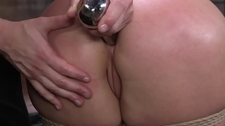Busty babe brutally anal toyed and banged