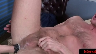 Horny bdsm stud jiggles his fist inside ass