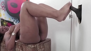 Ebony girl gives footjob and blowjob in the gloryhole!! Basis fetish Action!
