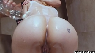 Classy blonde babe oiled and butt fucked