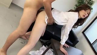 Japanese boss can'_t control with secretry in office hard sex