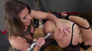 Huge ass blonde takes enema in lezdom