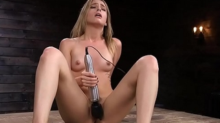 Stunning hairy blonde fucks machine