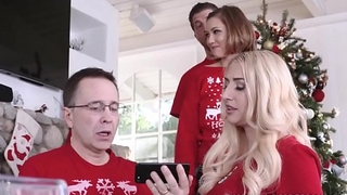 Cute And Tiny Teen Step Sister Riley Mae And Her Step Brother Fuck During Family Christmas Photo