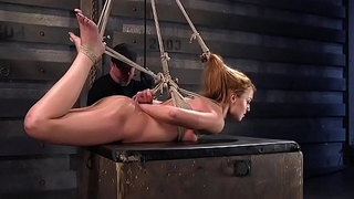 Dick on a stick in tied up redhead slut