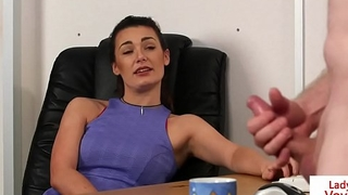 Office femdom instructs sub to jerk till cum