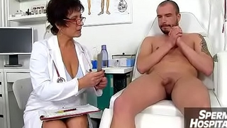 Gabina a full-grown uniform woman CFNM exam and handjob