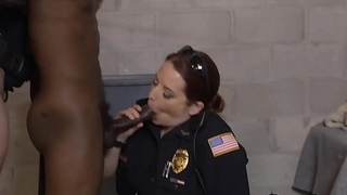 MILF cops stuffed with big cock in femdom interracial