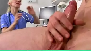 Blonde doctor Milf Maya CFNM and dirty handjob