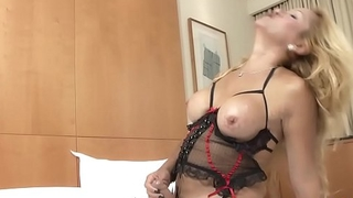 Mature shemale tugging in alluring lingerie