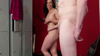Flirty looker gets cum tax on her face eating all the cum