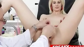 Dirty pussy exam of Czech blonde Mia Hilton